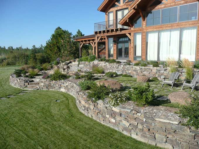 landscaping ideas with rocks corner fence   Drystacked rock retaining walls  on sun drenched exposure. landscaping ideas with rocks corner fence   Drystacked rock
