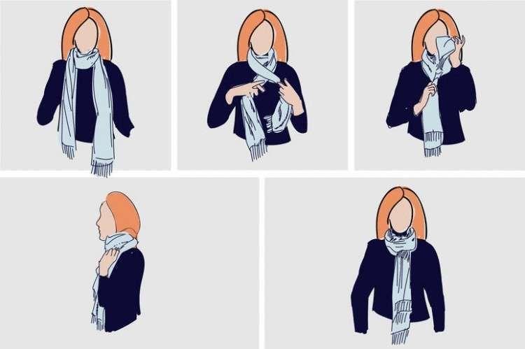 Стильные способы, как завязывать платок: инструкция пошагово с фото | 499x750