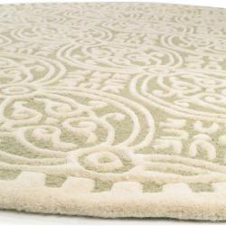 benuta Naturals Wollteppich Windsor Hellgrün ø 120 cm rund – Naturfaserteppich aus Wolle