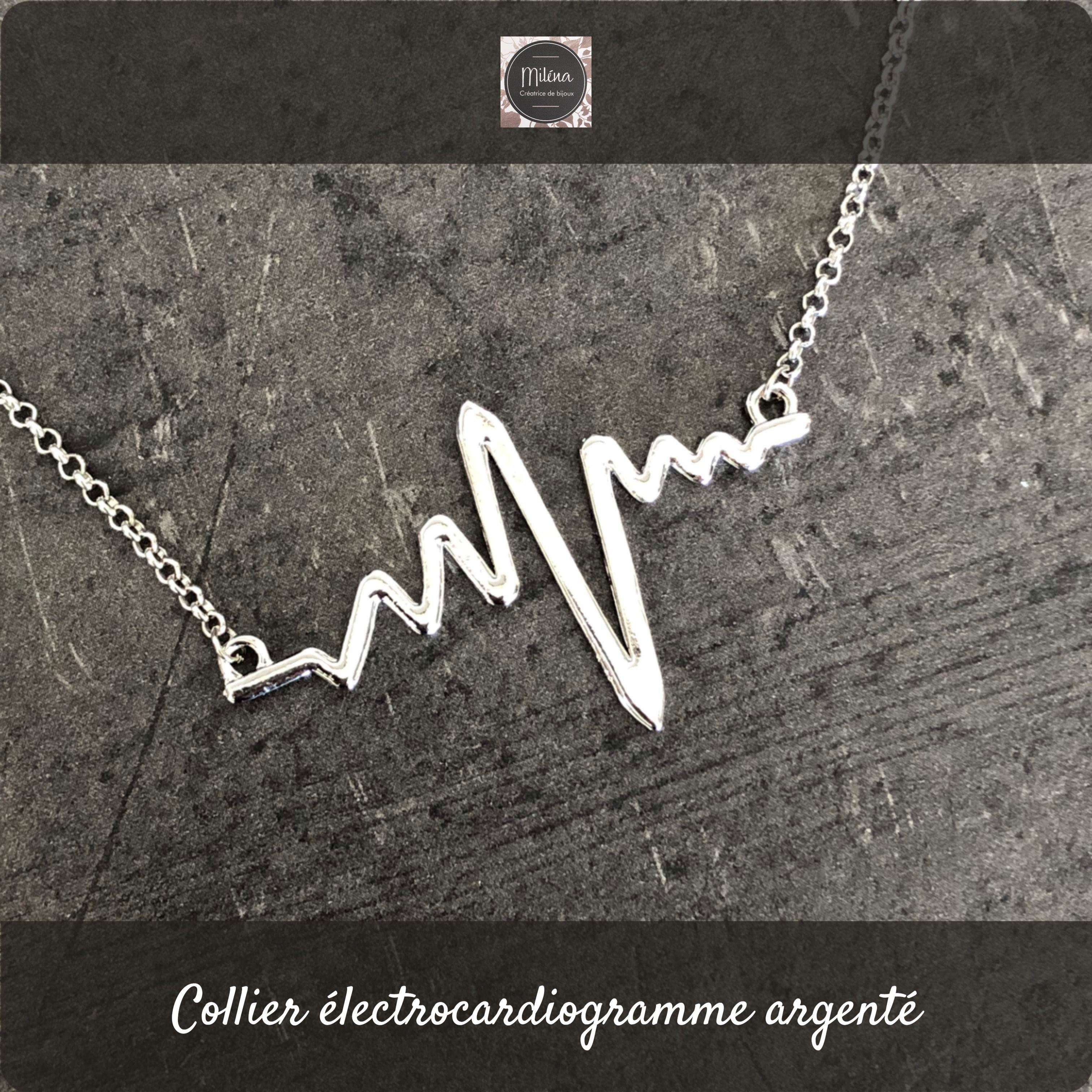 Origami Necklace Silver Electrocardiogram Origami Necklace Silver Necklace Original Necklace