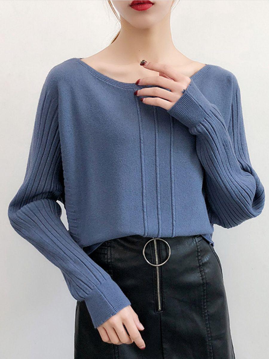 190b808293d Boat Neck Plain Batwing Sleeve Knit Pullover  KnitPullover