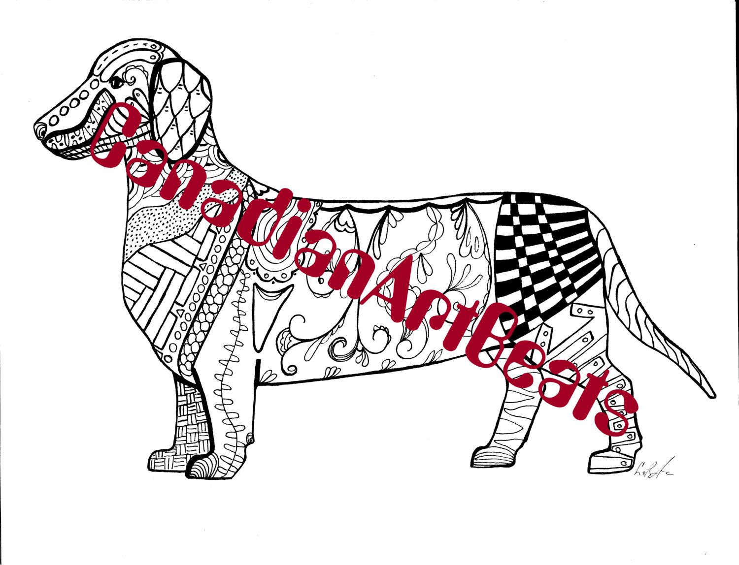 Downloadable Dachshund Zentangle inspired Coloring Page by ...