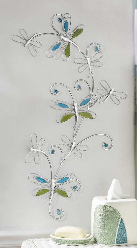 Dragonfly Bath Decor Silver Metal Dragonfly W Blue Green Glass Wall Art Decor Dragonfly Wall Art Dragonfly Decor Glass Wall Art
