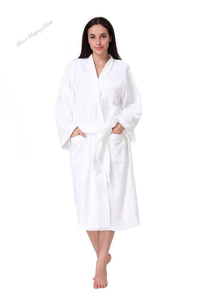Women s Terry Robe Plush Cotton Spa Kimono Bathrobe Mens Bath Robes White   Acanva 1fb27d577