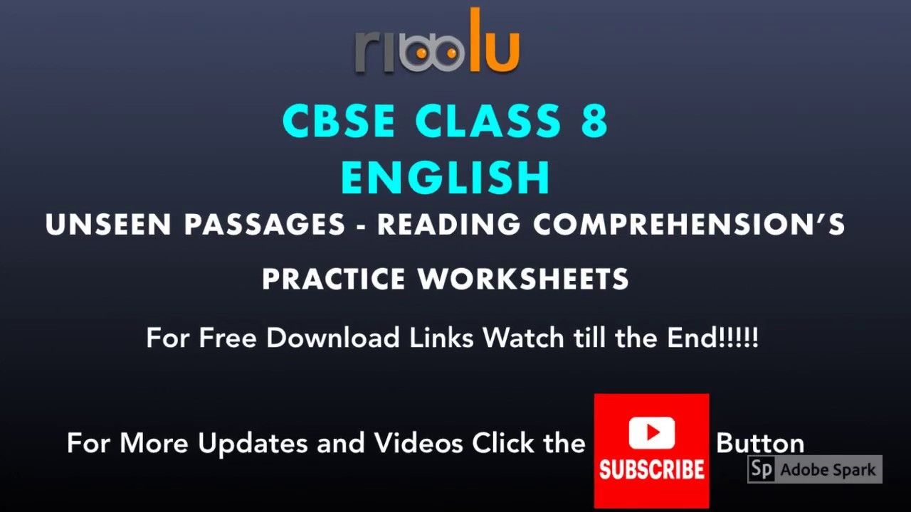 Class 8 English Unseen Passages Comprehension Practice Worksheets Reading Comprehension Practice Comprehension Practice Comprehension Worksheets [ 720 x 1280 Pixel ]