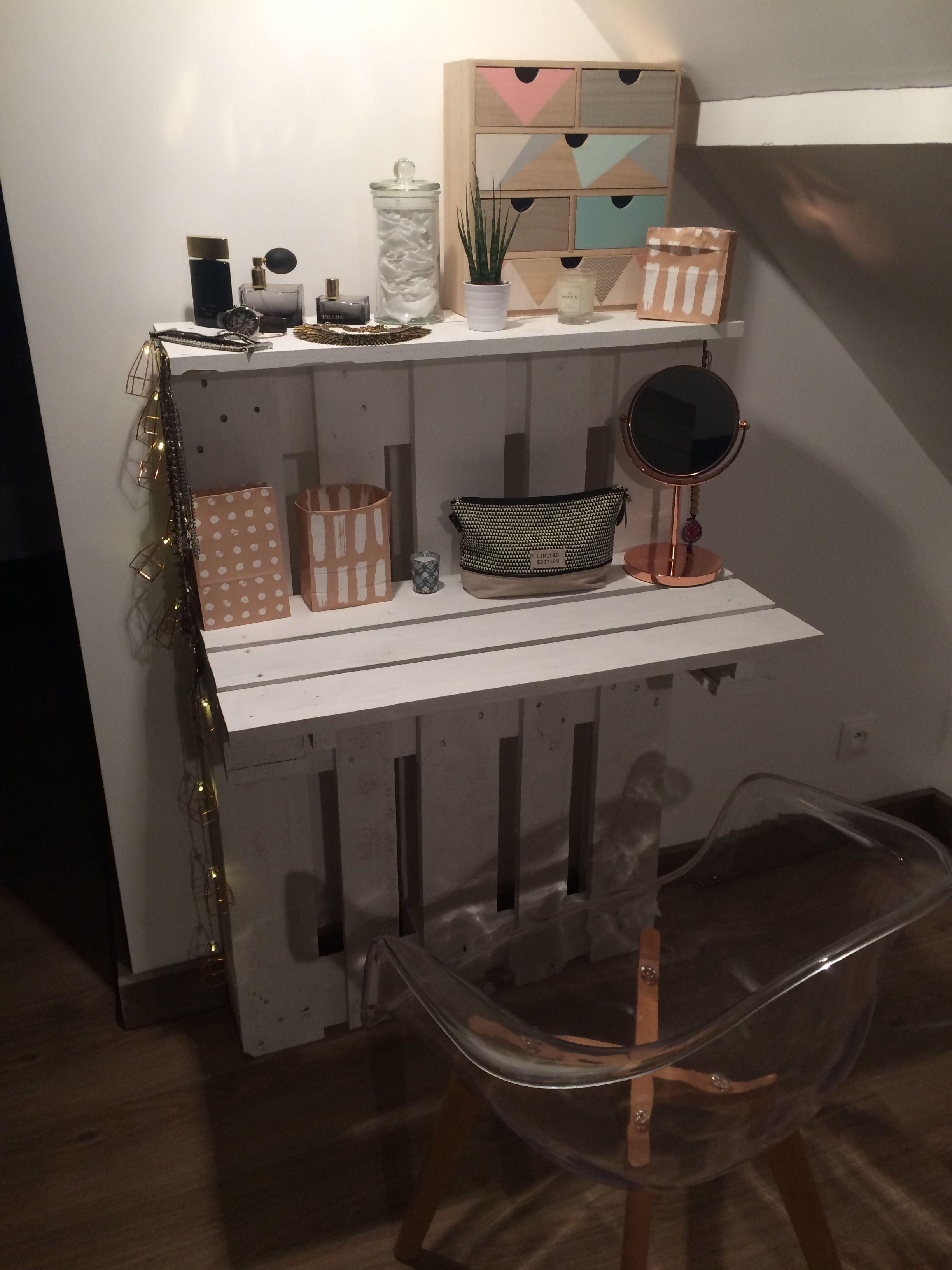 DIY meuble coiffeuse en palettes Diy meuble, Lit en