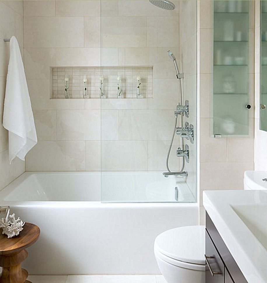 Bathroom: Contemporary Bathroom With Beige Tile And White ...