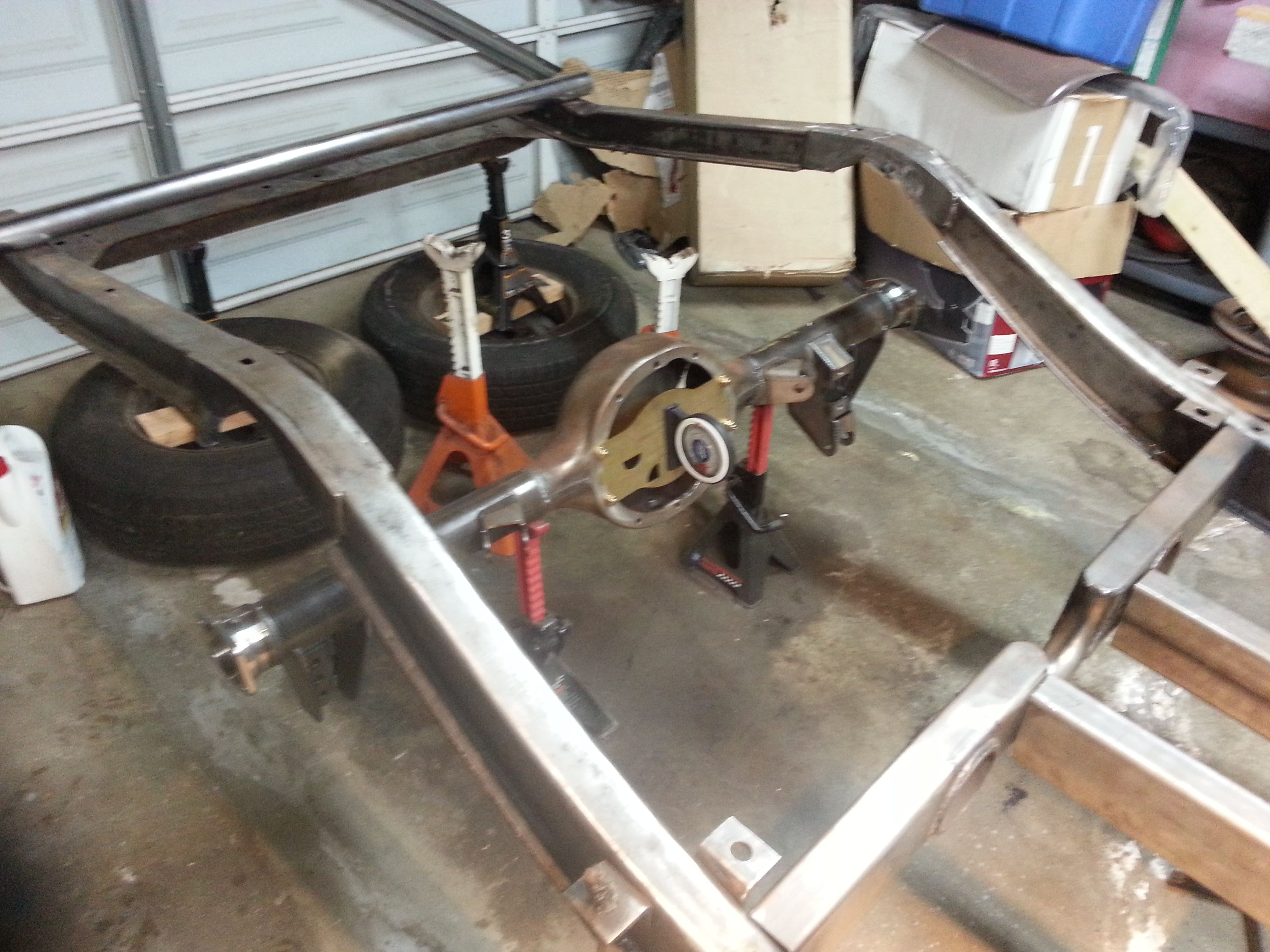 """Mocking up the Strange 9"""" Ford rear end, with the c notch installed."""