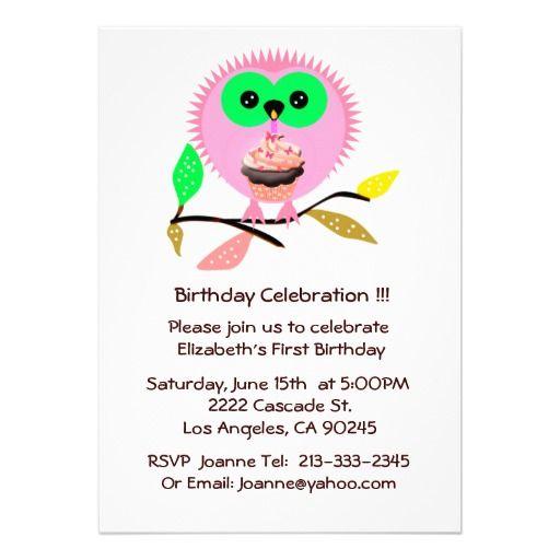 #Owl Cupcake Candle #Birthday Invitation #cute