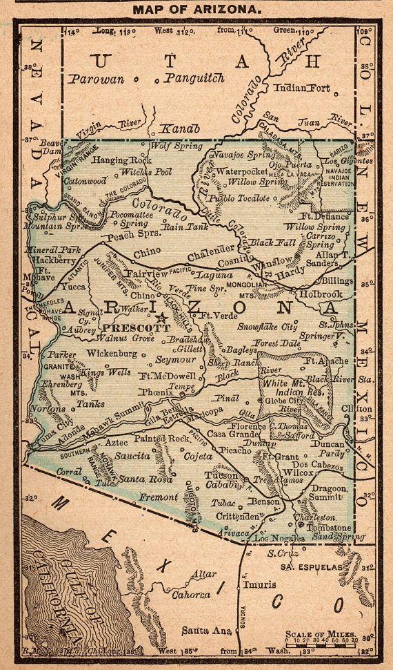 1888 Antique ARIZONA Map of Arizona Rare Miniature Size Travel ...
