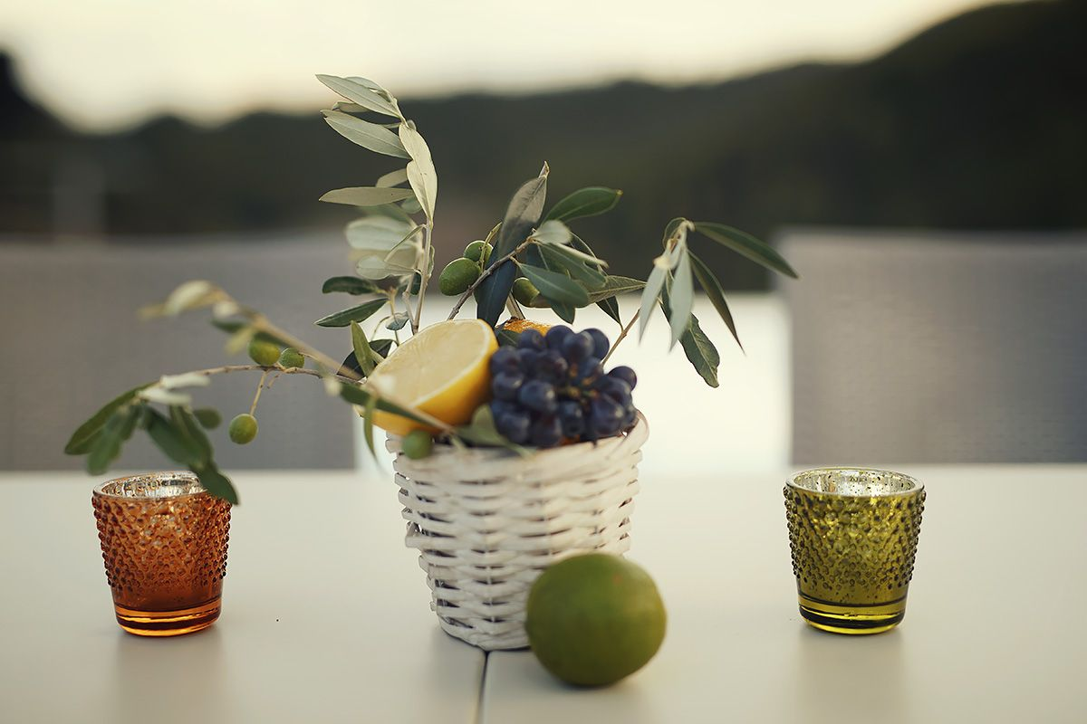 Lemon, Grapes And Olive Branches Centerpiece