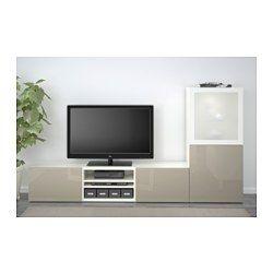 IKEA - BESTÅ, TV-Komb. mit Vitrinentüren, Lappviken grün/Sindvik Klarglas weiß, Schubladenschiene, Drucksystem, , Dank mehrerer Öffnungen auf der Rückseite der TV-Bank lassen sich Kabel von Fernseh- und anderen Geräten verdeckt, aber griffbereit ordnen.Dank der Kabelöffnung auf der Oberseite der TV-Bank lassen sich Anschlüsse in den Bankkorpus leiten.Schubkästen erleichtern das Ordnen und Sortieren. Auf den Böden hinter den Türen lässt sich auch vieles unterbringen.