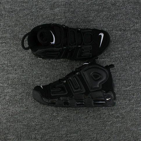 2018 Original Supreme x Nike Air More Uptempo Black Black-White 902290-001 9df9c5827