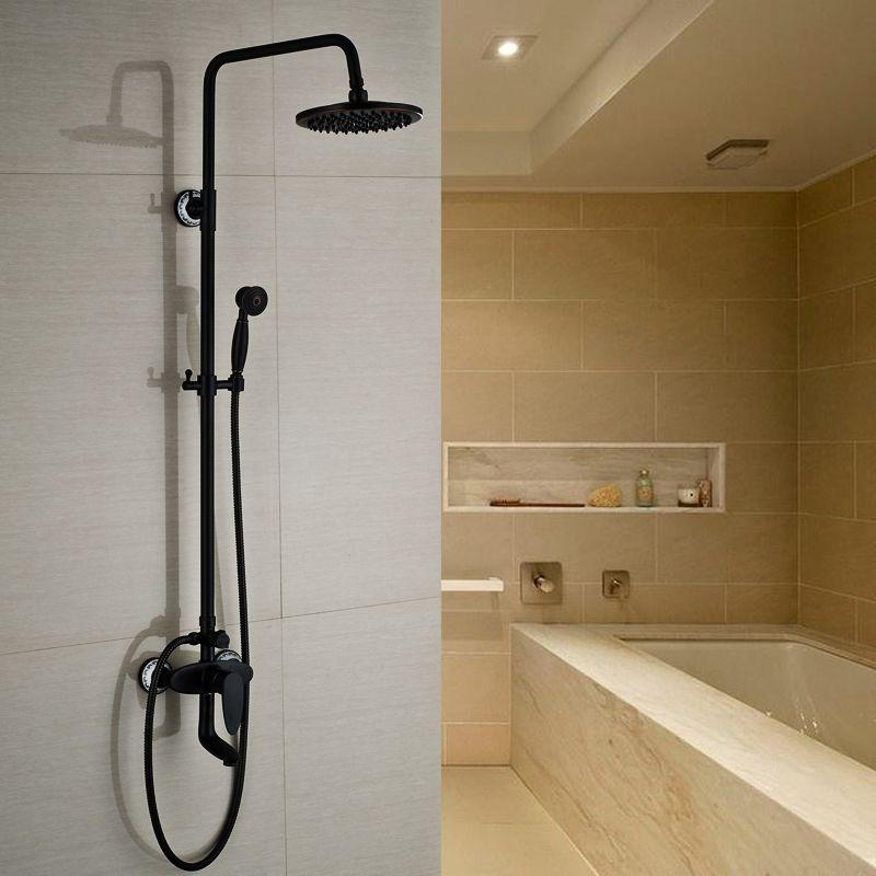 "130.76 Wall Mount 8"" Rain Shower Faucet Bathroom"