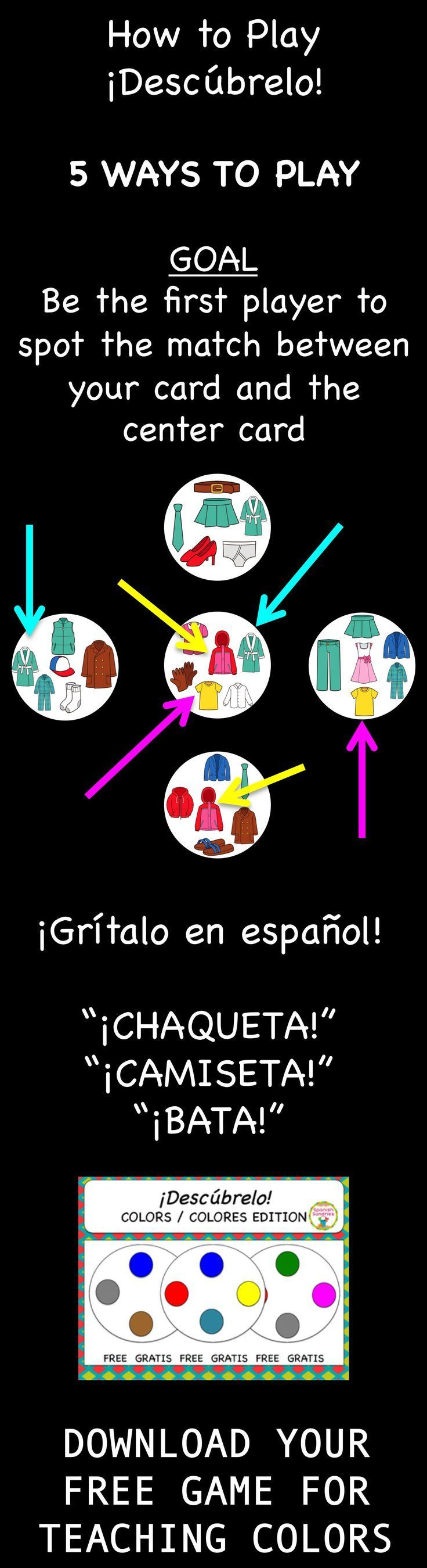 Free Spanish Vocabulary Game Desc Brelo Like Spot It Spanish Vocabulary Games Elementary Spanish Spanish Lessons [ 2699 x 736 Pixel ]