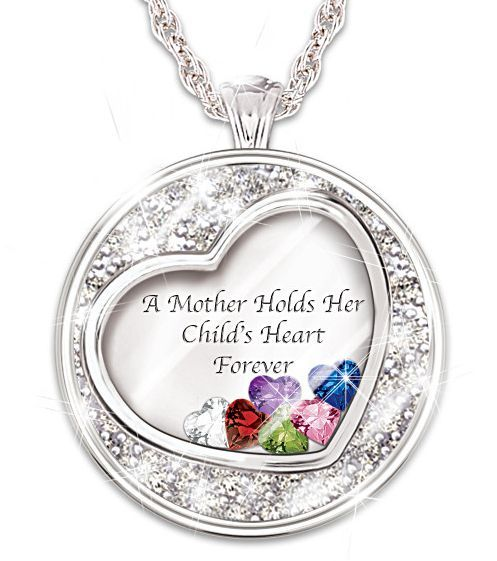d88db7812dd8f A Mother Holds Her Child's Heart Floating Birthstone Necklace with ...