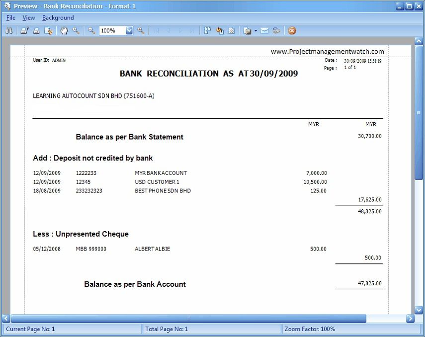 Bank Reconciliation Statement templates in Excel - monthly financial report excel template