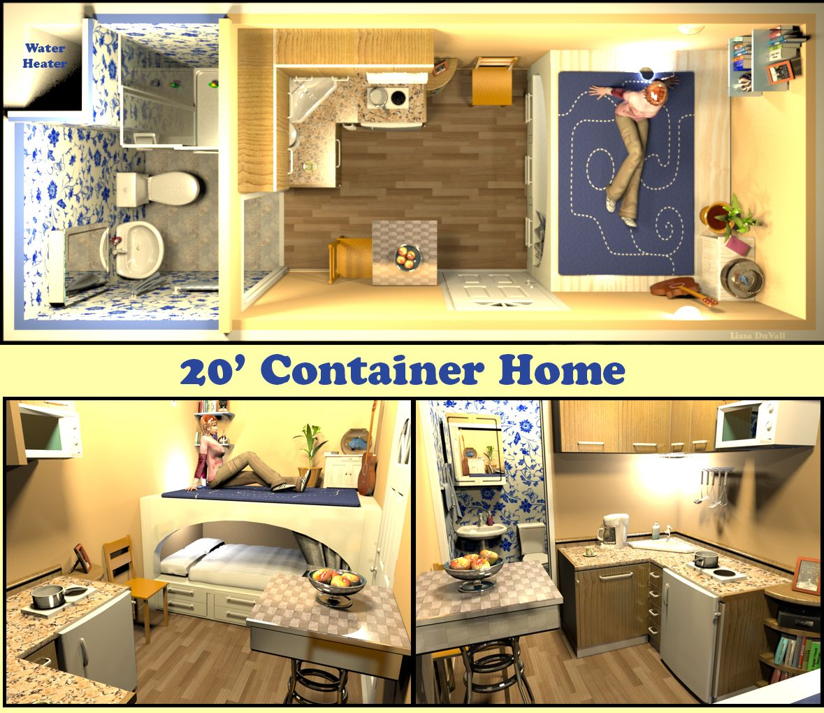 20 X8 Container Home Full Size Bed A Very Space Efficient Floor Plan For A Container Home C Container House Building A Container Home Container House Plans