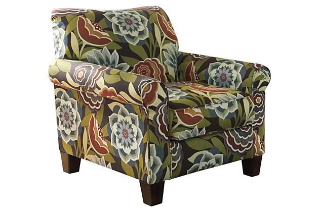 Floral Garden Colored Style Fabric For This Accent Chair To Add To