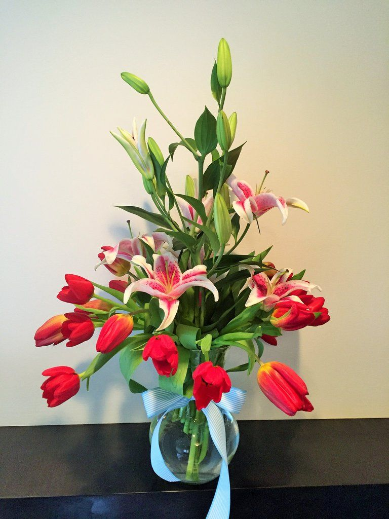 Red Tulips And Stargazer Lilies Flower Arrangement Flowershop