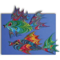 United Art and Education Art Project: Hand marbled paper simulates the scales of a fish in the colorful collage!
