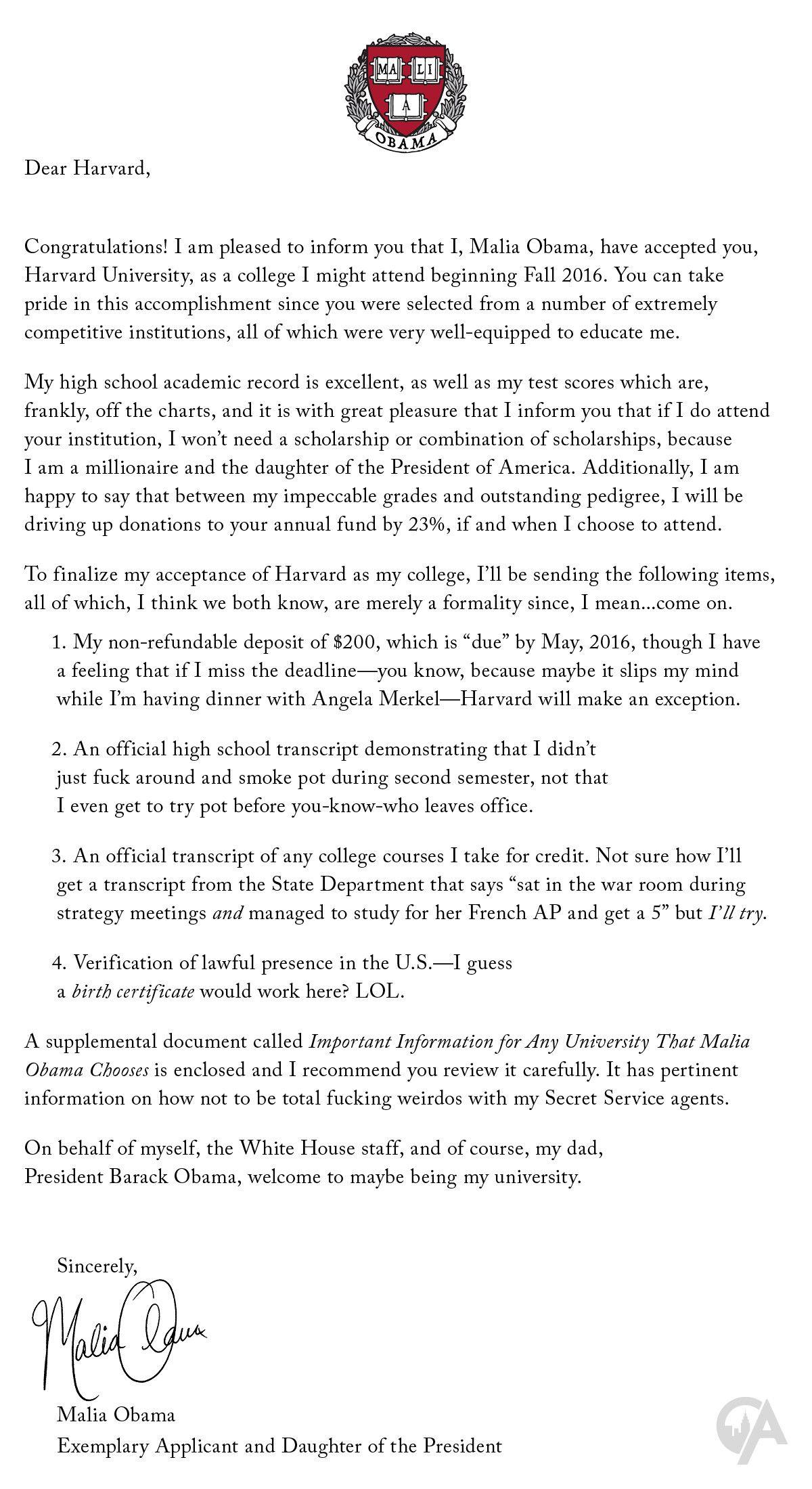 University Acceptance Letter Sample Luxury Malia Obama Sends