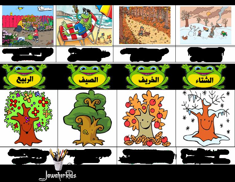 لبيب و لبيبة بطاقات الفصول الأربعة Learning Arabic Arabic Worksheets Gifts For Kids