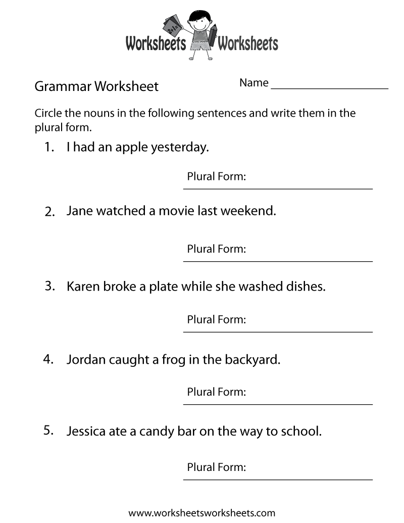English Grammar Worksheet Printable – Grammar Worksheets Free