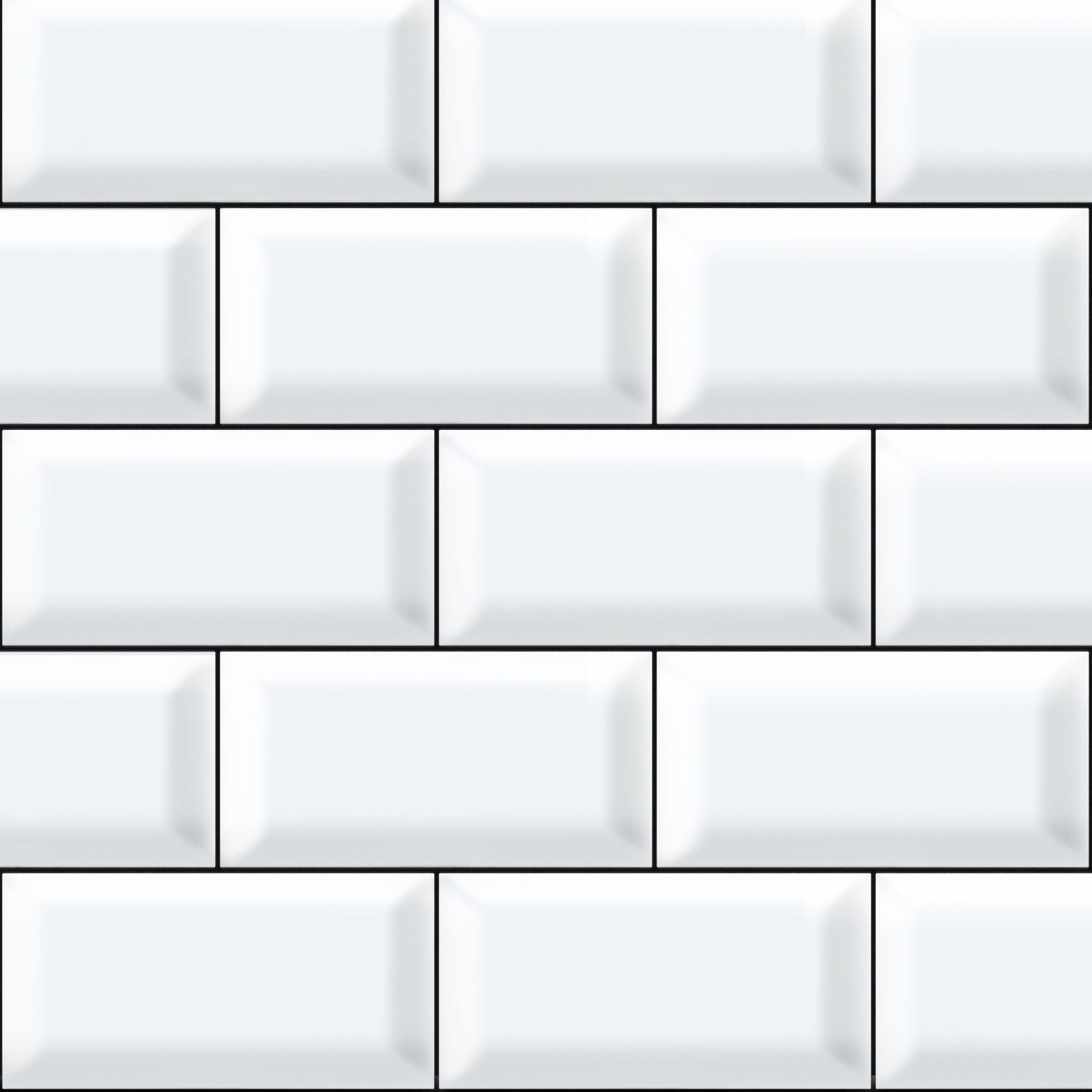 White Tiles With Black Grout Printed