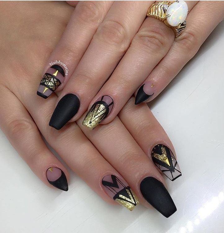 Black matte and gold ballerina nails | Girly Girl | Pinterest ...