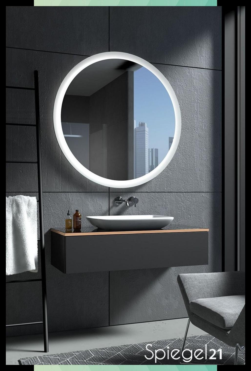 Runder Spiegel Mit Beleuchtung Charon In 2020 Round Mirror Bathroom Mirror Bathroom Mirror