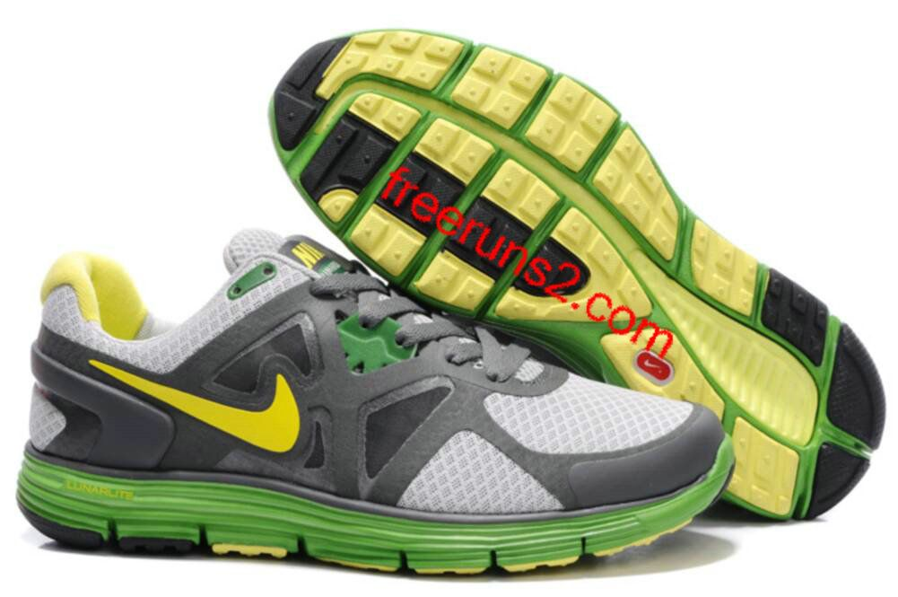 Mens Nike Lunarglide 3 Gray Green Yellow Shoes | Nike shoes
