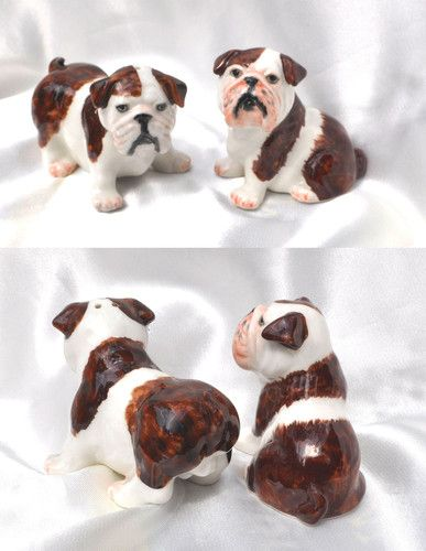 English Bulldog Puppies Ceramic Salt And Pepper Shakers Animal