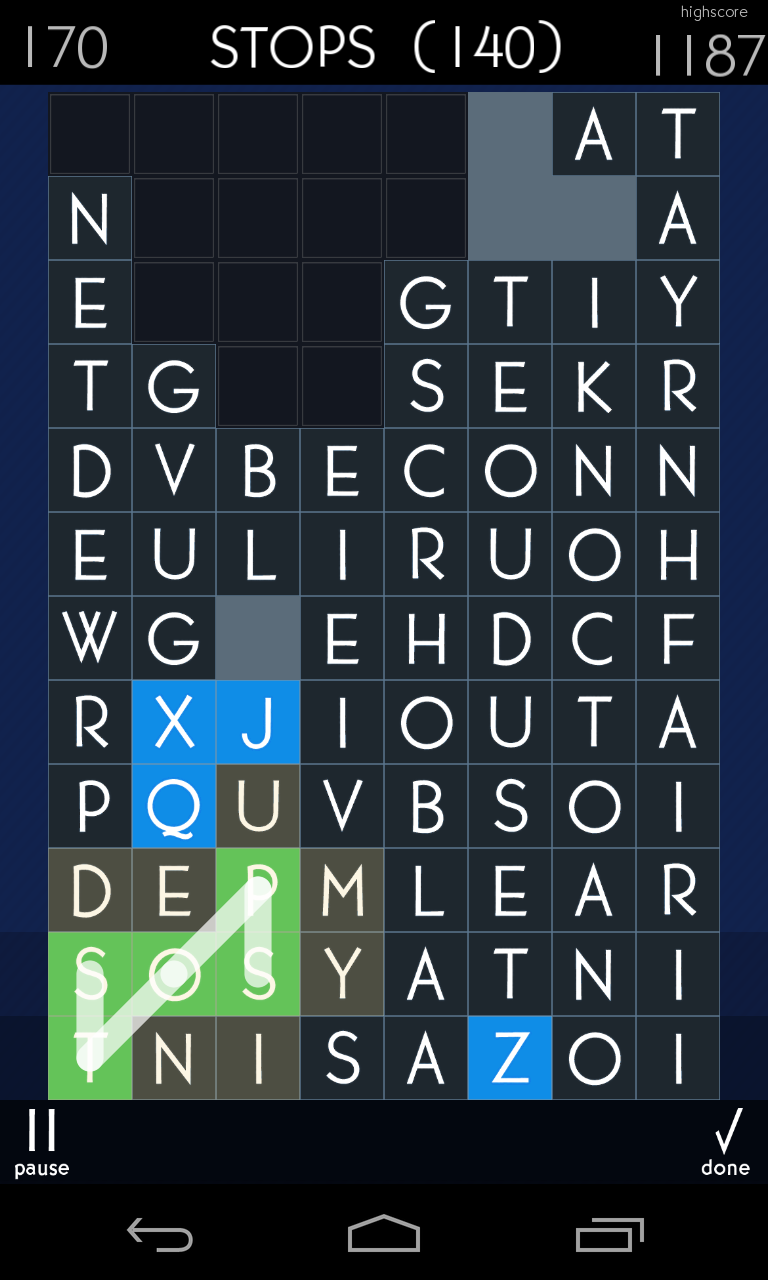 Grid with easy to see action Word search games, Games