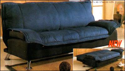 Futon In Blue And Black Cover 300068
