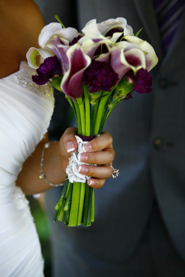 My wedding bouquet. Mini picasso lilies and black (purple ...