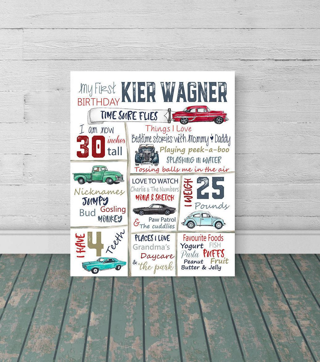 Vintage, Car, Personalized, First birthday, stats, poster, Hot rod, Vintage, Birthday facts, 1st birth stats, Classic Cars, nursery art,