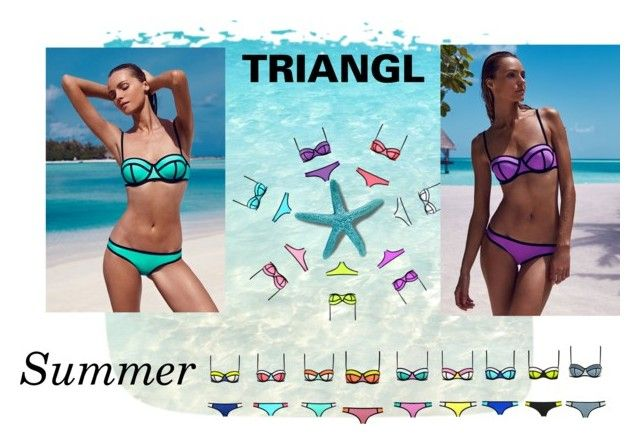 """Triangl"" by clariworld ❤ liked on Polyvore featuring Milly, Sexy Romantie, swimwear, sea and summer2015"