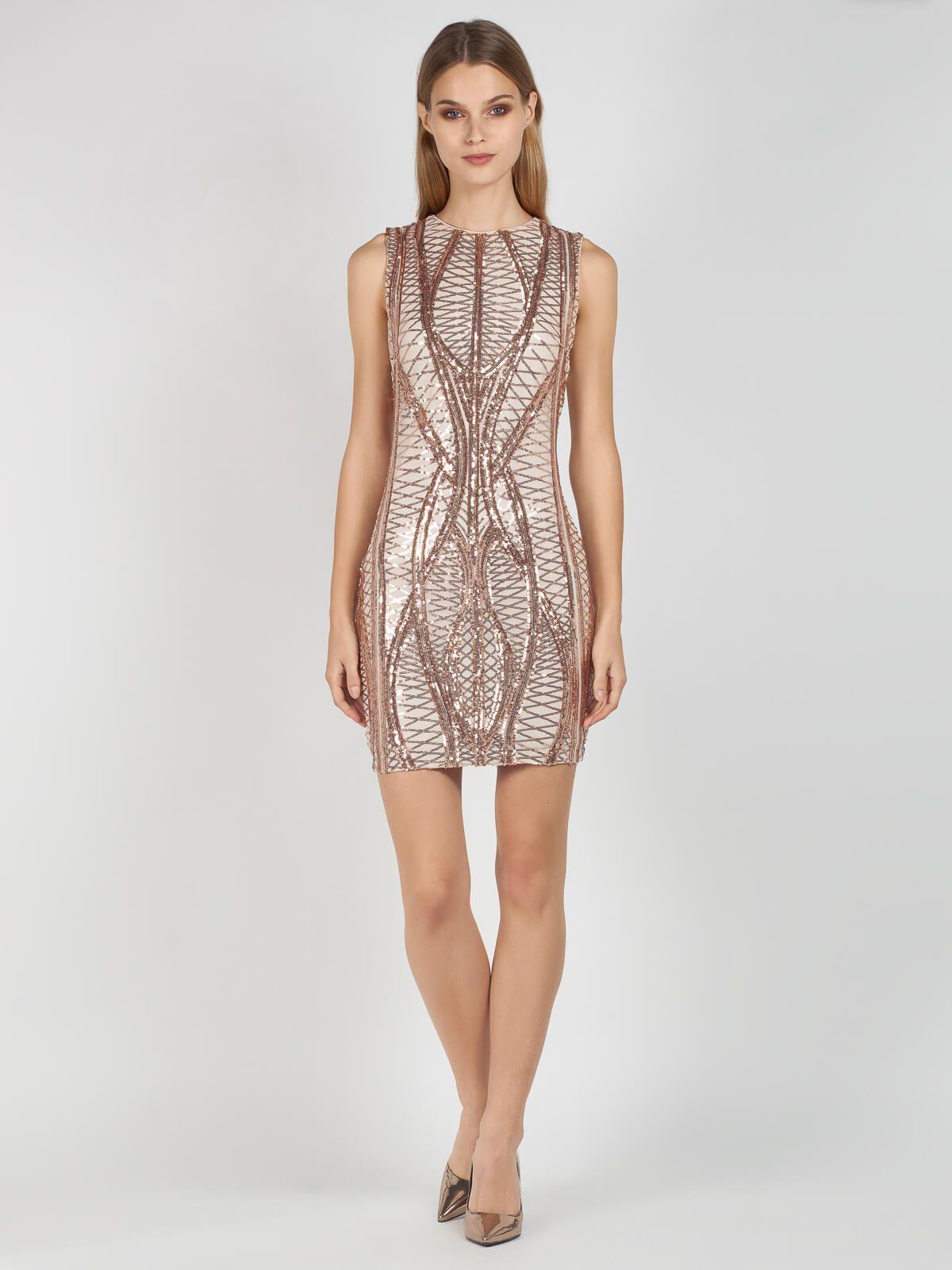 bbf5b5e3f0af Φόρεμα βραδινό αμάνικο σε ίσια γραμμή και μήκος μέχρι το γόνατο. Το φόρεμα  είναι από μπεζ τούλι κεντημένο με χρυσές παγιέτες σε ιδιαίτερο σχέδιο …