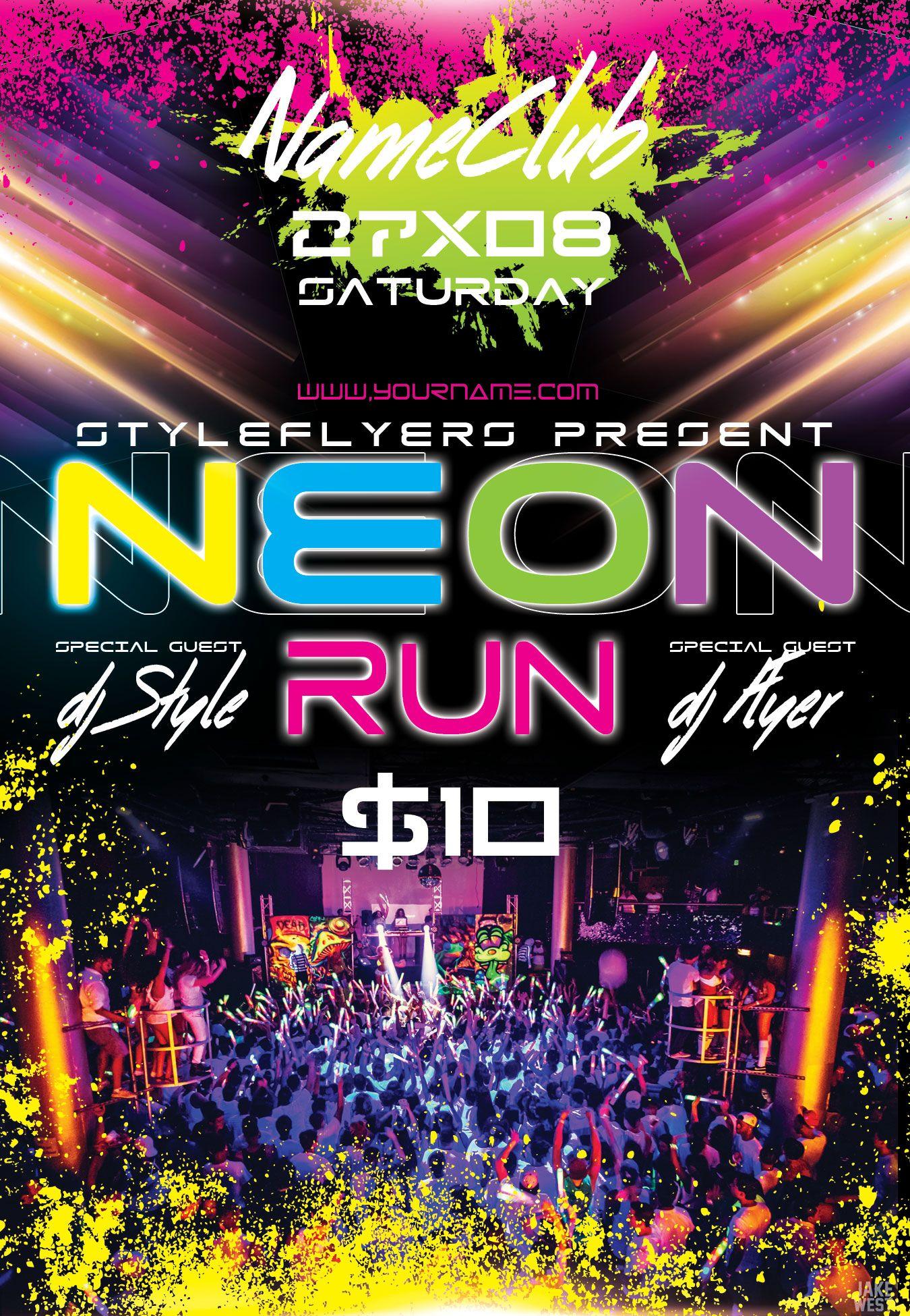 Neon Run PSD Flyer Template Neon run