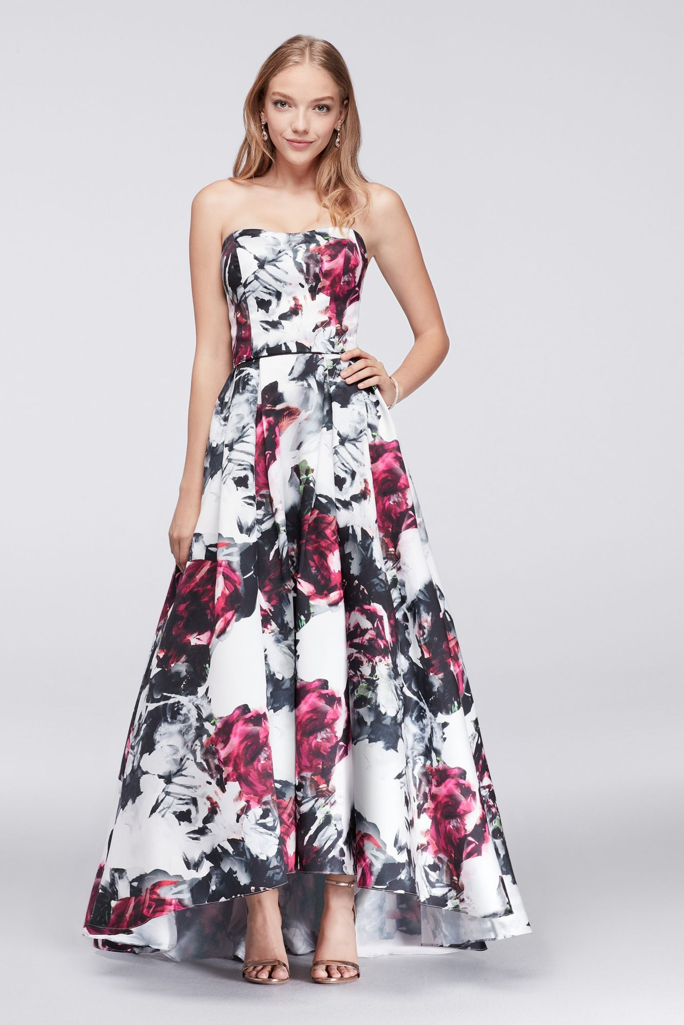 Charming New Style Strapless Sweetheart Neckline High Low Floral