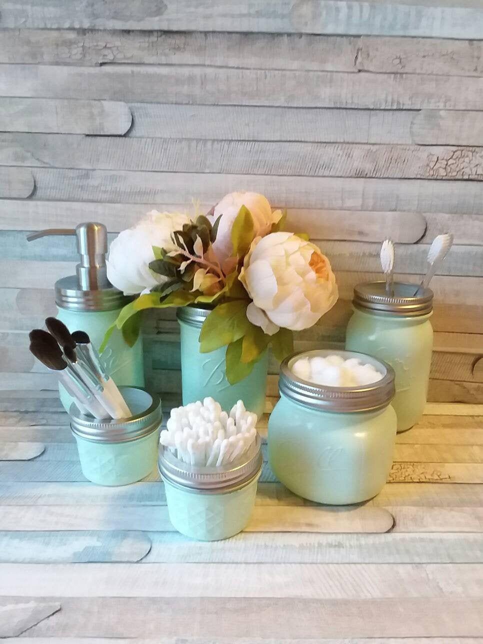 6 Piece Mint Mason Jar Bathroom Set,Modern Farmhouse, Bathroom Storage, Mason Jar Set,Cottage, Mason Jar,Rustic Decor,Farmhouse Decor #masonjarbathroom