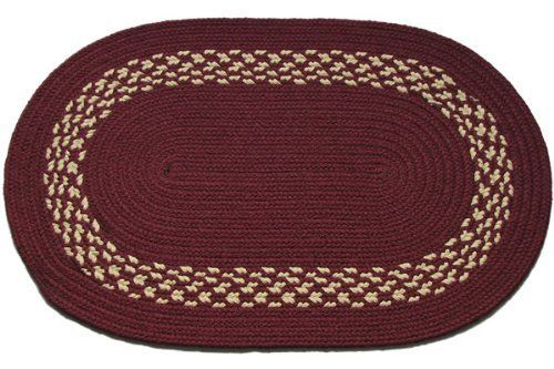 Burgundy Cream Band Oval Braided Rug 10 X 12