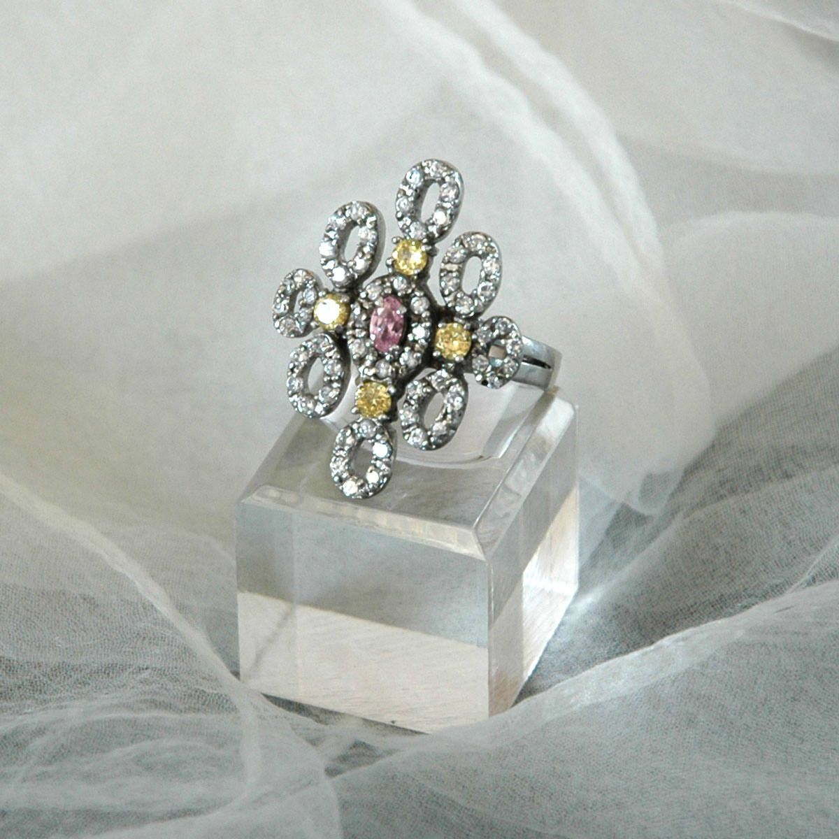 "CZ Statement Ring, Diamond Shape Flower, Sz 9.5, Vintage Bride, ""AF 925"" Sterling Silver, Pink Yellow Colorless Stones, Like New by VWayne on Etsy"