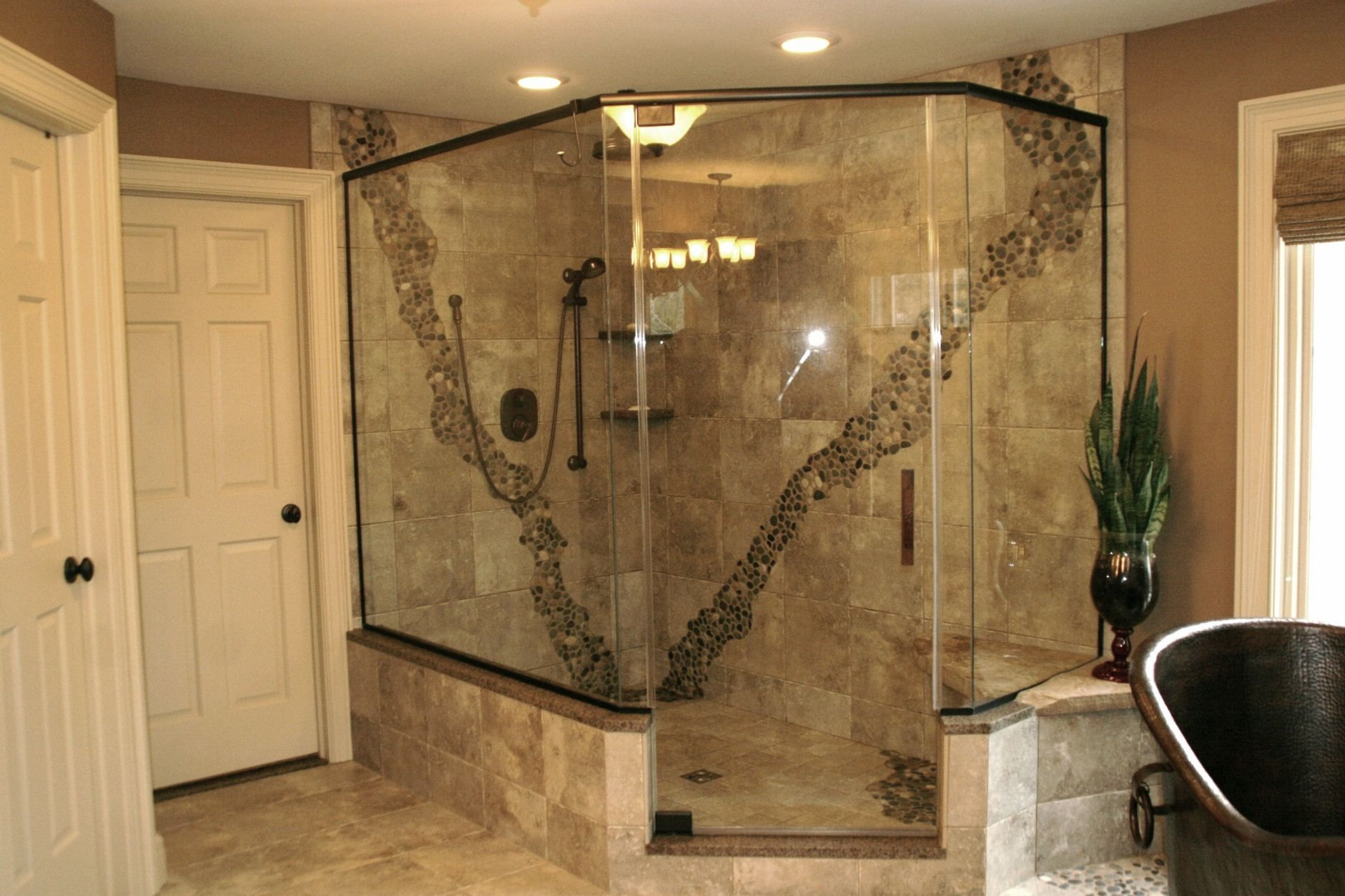 Rustic Walk In Shower With Pebble Accent Luxury