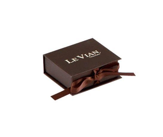 Matte Chocolate Ribbon Jewelry Box HOT Jewelry Branding Materials