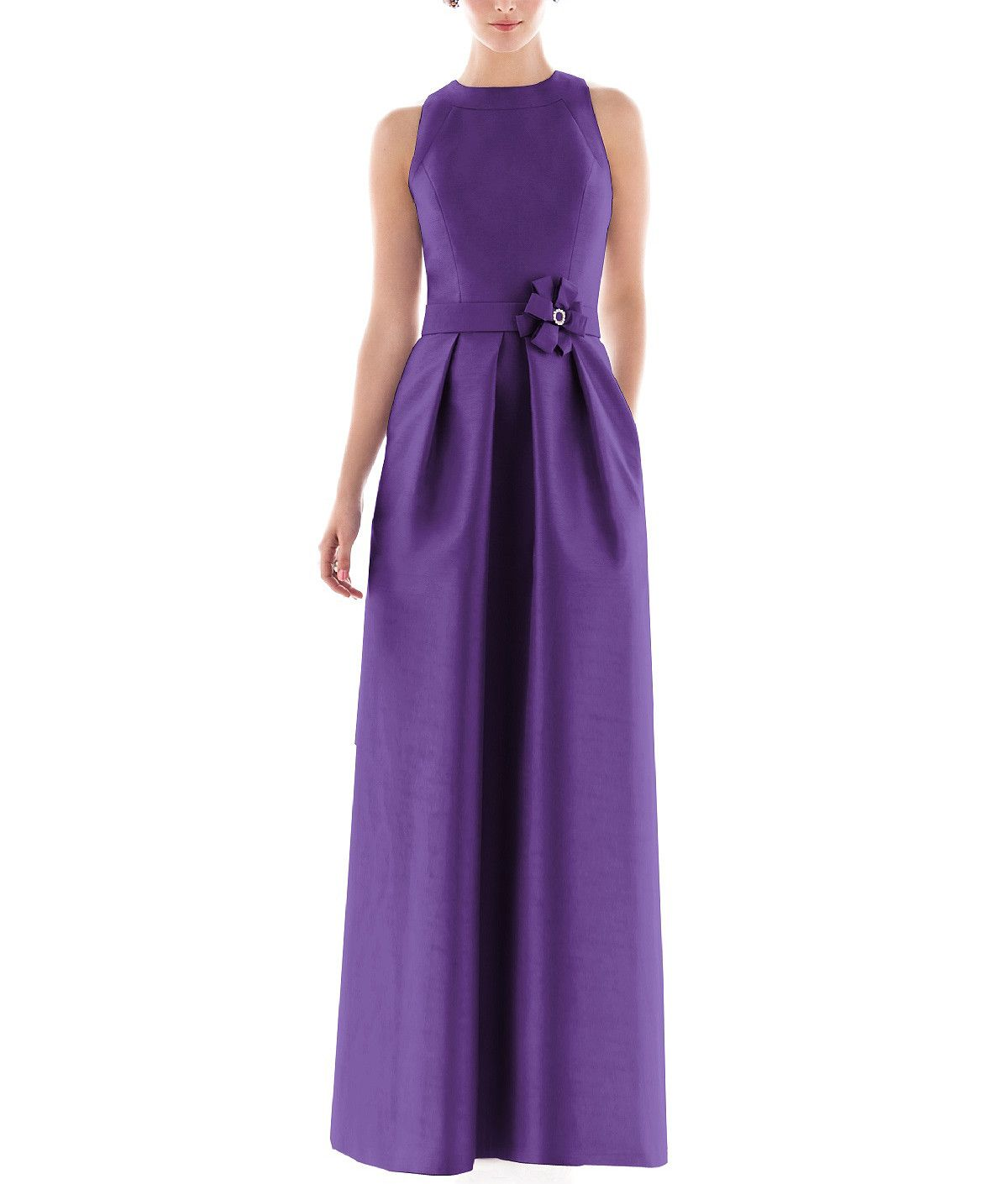 Alfred Sung D477 is a full length bridesmaid dress with high scoop ...