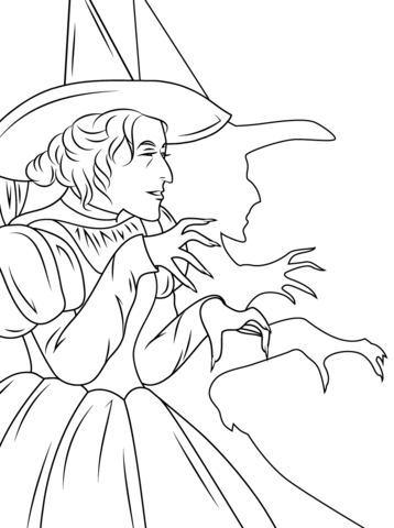 Wizard of Oz Wicked Witch Coloring page | Colour | Pinterest | Mago ...