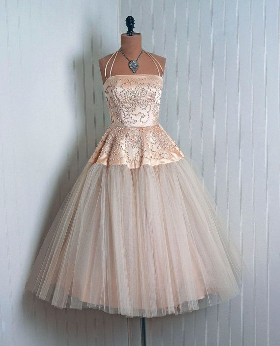 1950's Vintage Champagne-Pink Silk-Satin and Tulle Wedding Dress