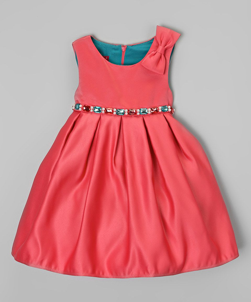 Love this Coral Jewel-Waist Dress - Infant by Consolidated Clothiers on #zulily! #zulilyfinds